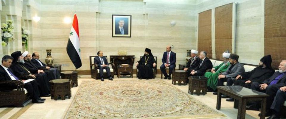 Премьер Сирии встретился со священнослужителями из России и поблагодарил их за помощь